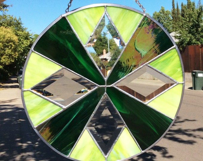 """Stained Glass and Beveled Sun-catcher 12"""" Round"""