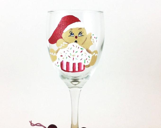 Christmas Wine Glass, Holiday Wine Glass, Painted Wine Glasses, Gingerbread man, Gingerbread glass, Holiday wine gift, Christmas Gift, wine