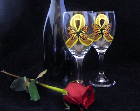 Awareness ribbon wine glass, Childhood cancer wine glass, hand painted awareness ribbon