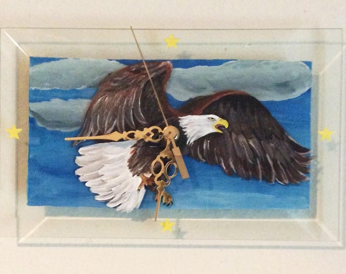 "Eagle Wall Clock, Hand Painted Wall Clock,  Painted on Glass Bevel 11"" by 7"""