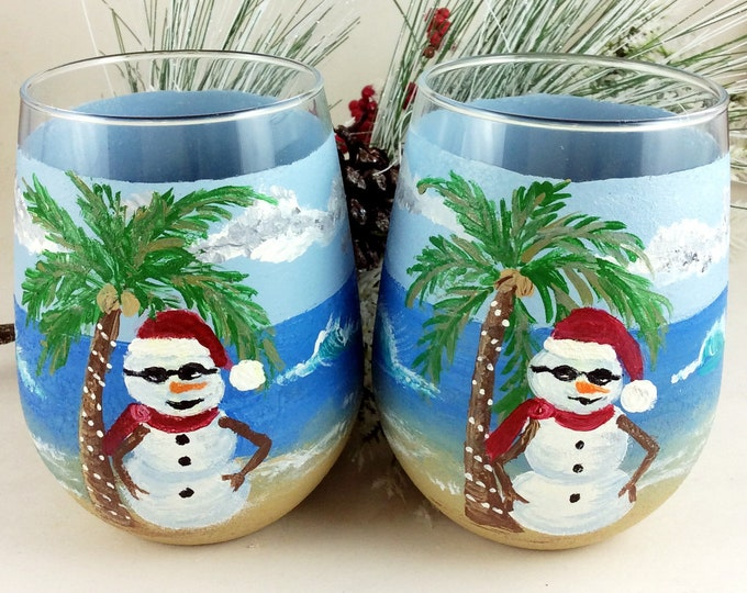 Hand painted glass, Christmas glasses, snowman glasses, Wine lover Gifts, Ocean lover gift, Best friend gift, Painted drinking glasses,