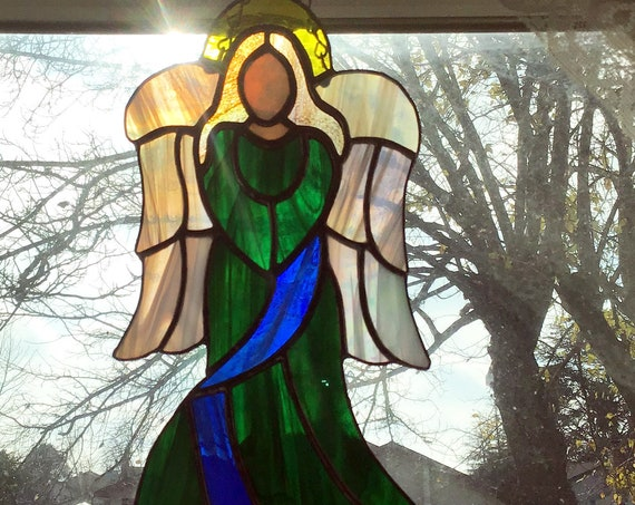 Stained Glass Angel, Angel Suncatcher, Tiffany Style, Guardian Angel Decor, Stained glass panel, Window Decor, Best selling item, gifts