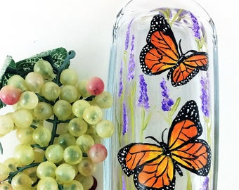 Butter Dish, Hand painted Butterfly Butter Dish, Monarch Butterflies, Butterfly butter dish