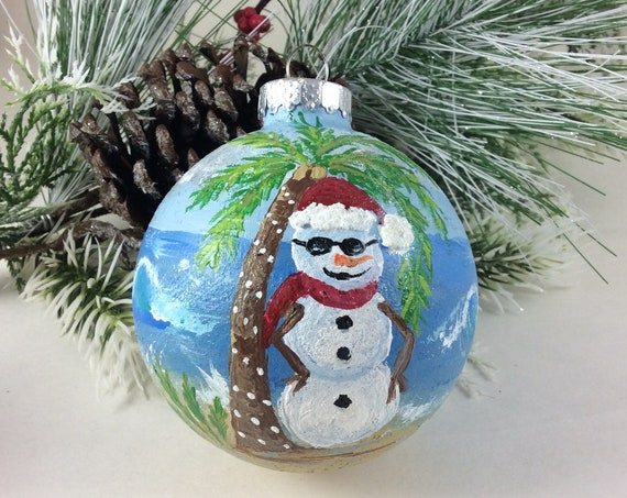 "Christmas Ornament, Hand Painted Snowman ornament, 3 1/2"" ornament"