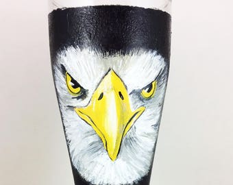 Pilsner Glasses, Eagle Pilsner glass, Custom Beer glass, Beer gift, Beer glass, Craft beer, Hand painted Pilsner glass, Bald Eagle, Eagles
