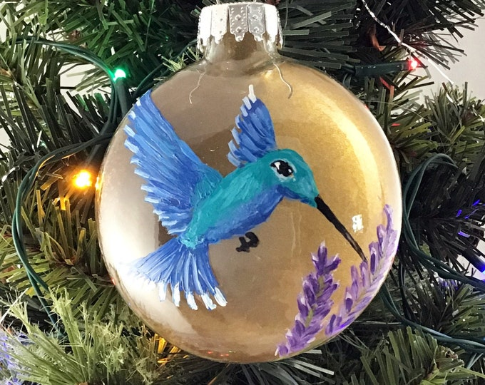 Hand painted Hummingbird ornament, Hummingbird Christmas ornament, 3 1/4""
