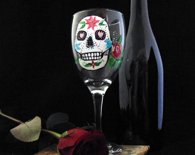 Sugar Skull wine glasses, Día de los Muertos, Day of the Dead wine glasses