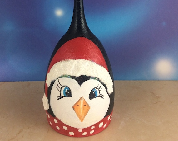 "Christmas Candle holder, Penguin candle holder, Holiday Decor, 8"" high, wine glass candle holder"
