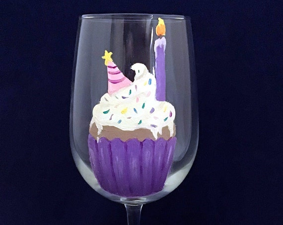 Birthday cupcake wine glass, Hand painted Cupcake wine glass, 18.5oz Birthday wine glass