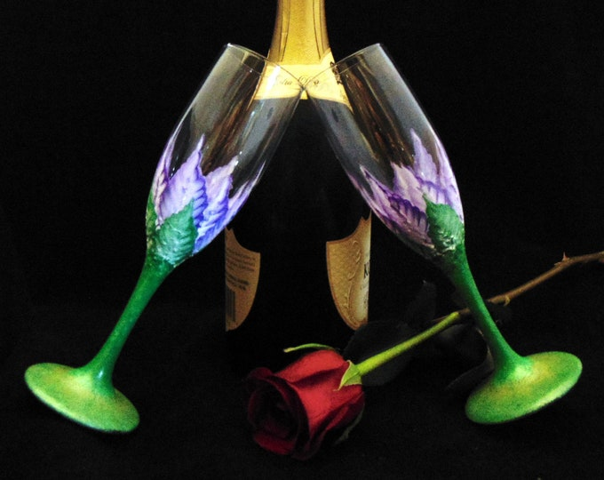 Hand Painted Floral Champagne Glasses, Toasting Flutes,  6oz.