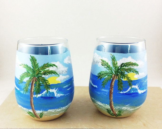 Ocean stemless wine glasses, 17oz hand painted wine glass, Ocean Theme