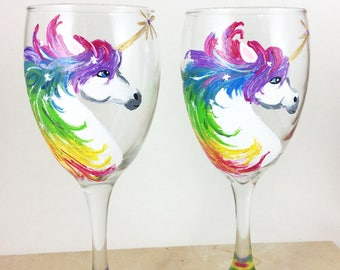 Unicorn Wine Glasses, Unicorn lover gift, Gold Unicorn Horn, Unicorn gift for her, Wine lover, Wine lover gift, Wine glass gift, Unicorns