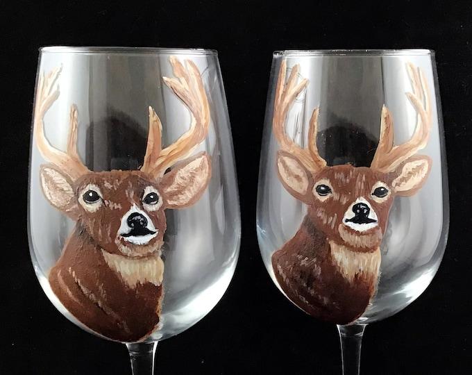 Buck wine glasses, Deer Wine glass - Hand painted Large 18.5oz wine glass
