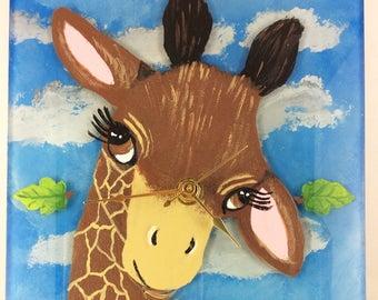 Giraffe Wall Clock, Hand painted wall clock