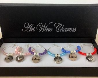 Wine Glass Charms, Love Wine Charms, Wine Lover Gift, Wine Charms, Wine Gift,  BFF Gift, Heart wine charms, Heart love charms, Heart charms