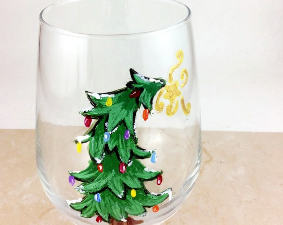 Stemless Christmas Tree Wine Glasses, Christmas Drinking glasses, 17oz.