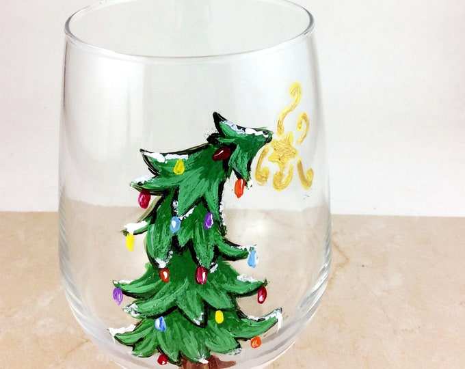 Christmas Wine Glass, Stemless wine glass, Holiday drinking glass, Christmas glass, Holiday Table Decor, Holiday glasses, Painted Glasses