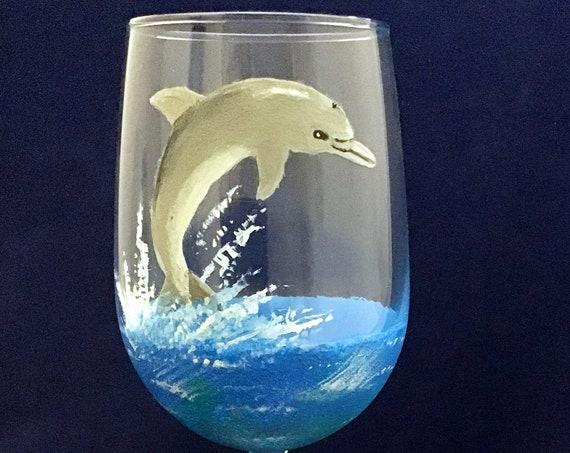 Dolphin wine glasses, Hand painted jumping dolphin, Ocean wine glasses, Beach Scene, Wine lover gifts, Ocean Lover gifts, 18.5 oz. glass