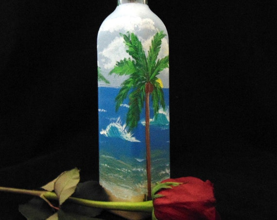 "Olive Oil Bottle or soap dispenser - Hand painted Ocean Scene, 12"" high - holds 16oz. Olive Oil Cruet, Ocean gift"