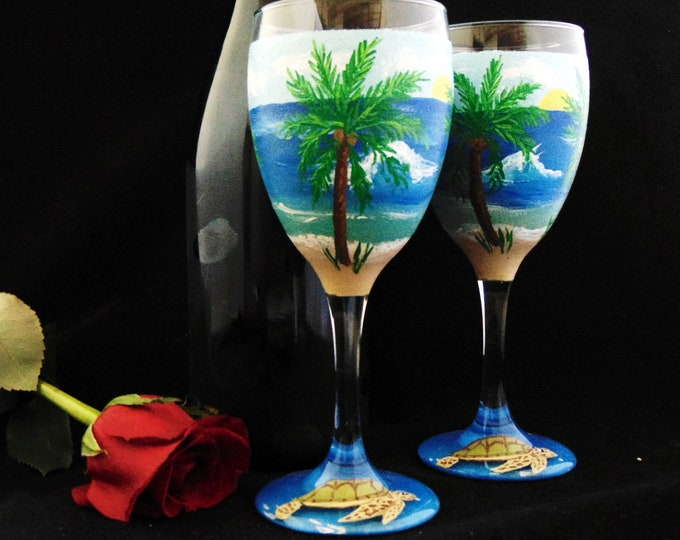 Ocean Scene wine glass with Sea Turtle on the base, hand painted wine glasses - 10.25 oz wine glass