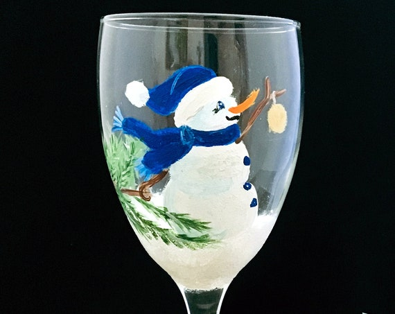 Snowman Wine glass, Hand Painted Snowman Wine Glasses, 10.25oz.