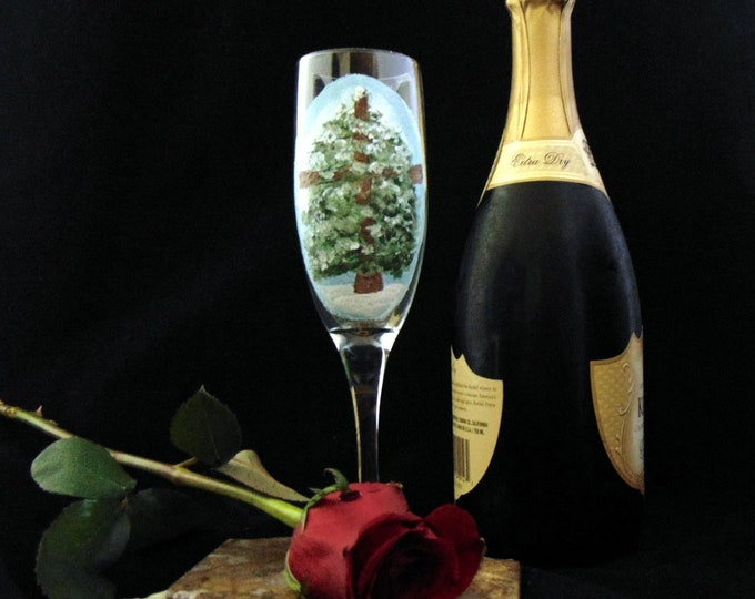 Champagne Glasses, Christmas Tree Easter Glasses, Toasting flutes, Hand Painted 6oz.