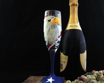 American Eagle Champagne glasses -  Hand Painted 6oz