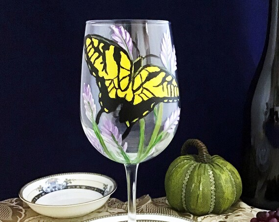 Swallowtail butterfly Wine Glasses, Butterfly wine glasses, Butterfly lover gift, Wine Glass Gift, Wine glass personalized, hand painted