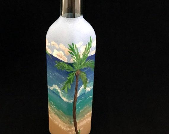 Olive or vinegar painted bottle dispenser, olive oil dispenser, oil bottle, foodie gift, olive oil, soap dispenser, beach decor, dispenser