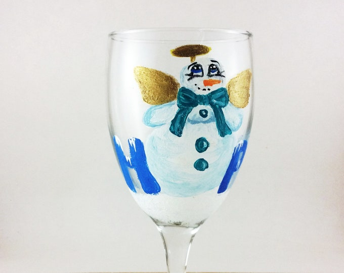 Angel Snowman Glass, Christmas glassware, Hope snowman, painted wine glass, Christmas hope, Holiday wine glasses, Decor, Snowman Decor