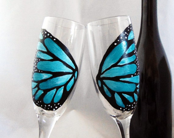 Butterfly wing champagne glasses, Set of 2 Toasting Flutes, Hand painted Champagne glasses, 6oz.