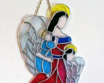 Stained Glass Angel, Angel Suncatcher, Angel Decor, Best selling items, Prism Suncatcher, Madonna Angel, Stained Glass Art, Window Hanging