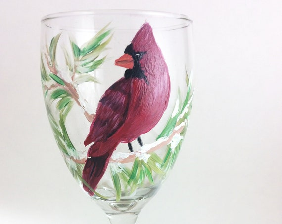 Cardinal wine glass, Hand painted 10.25oz Glass, Wine lover gift