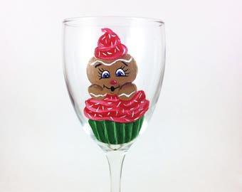 Christmas wine glasses, Hand painted holiday glass 10.25oz