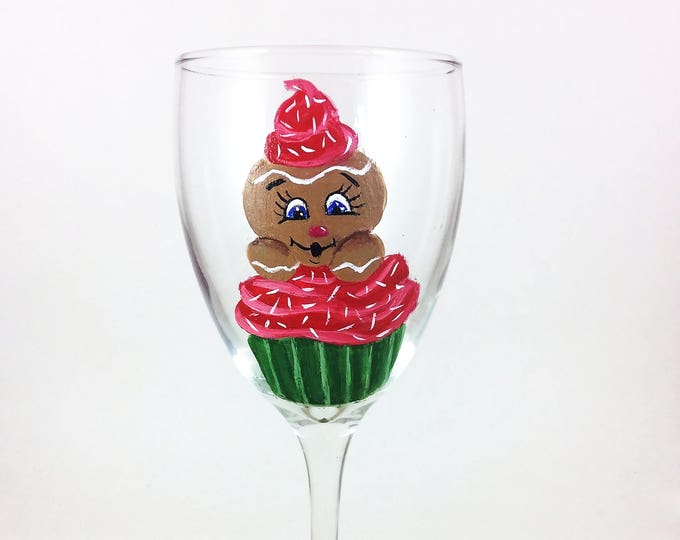 Christmas wine glasses, Hand painted holiday glass 10.25oz