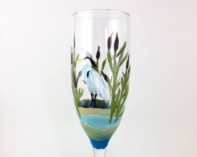 Champagne Flutes, Champagne glasses, Toasting glasses, Painted glasses, Gift for mom, wine lover gift, New home gift, Crane birds, herons