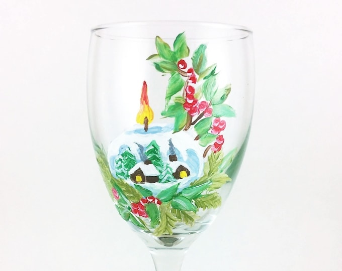 Christmas Wine glasses, hand painted holiday wine glass,  10.25oz glasses