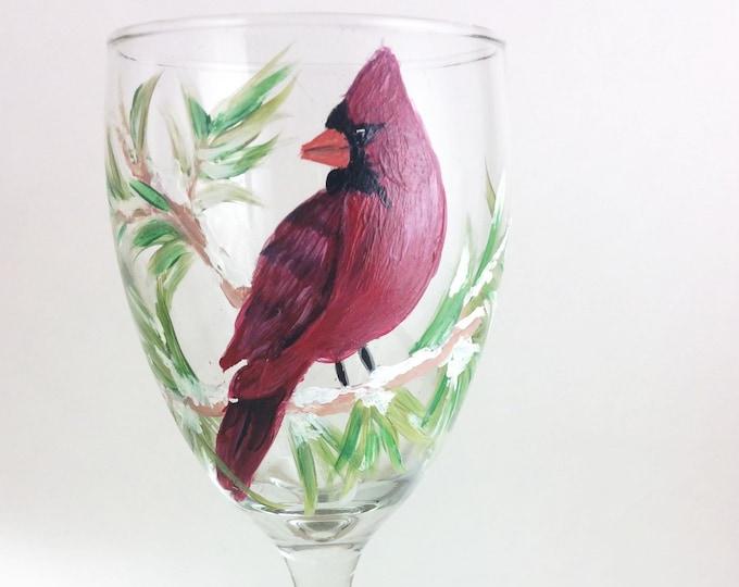 Painted Wine glass, Wine Lover Gift, Red Cardinal Bird, Bird Decor, Cardinal wine glass, Christmas wine gift, Bird Lover Art, Drinking Glass
