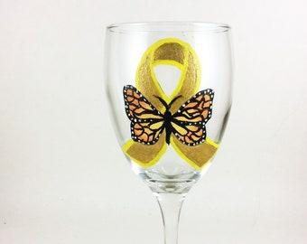 Awareness Ribbon, Butterfly Ribbon, Wine glasses, St. Baldricks, Childhood Cancer, Butterfly, Gold awareness ribbon, wine lover gift