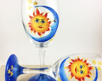 hand painted wine glass, Moon and Sun gift, Sun and moon faces, Sun and moon gifts, Moon wine glass, sun wine glass, wine lover gift, gifts