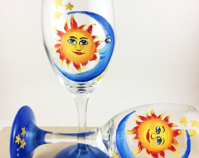 Hand painted wine glasses, Hand painted moon and sun wine glasses, 10.25oz.