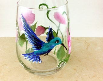 Hand Painted Stemless Wine glass, Hummingbird Wine glass, 17oz stemless wine glass