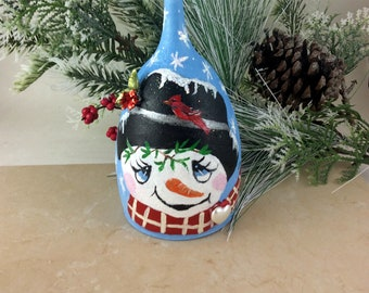 Holiday Candle Holders, Christmas wine glass, Snowman Candle holders, Holiday Table Decor, Christmas Decoration, Christmas Candle, Snowman