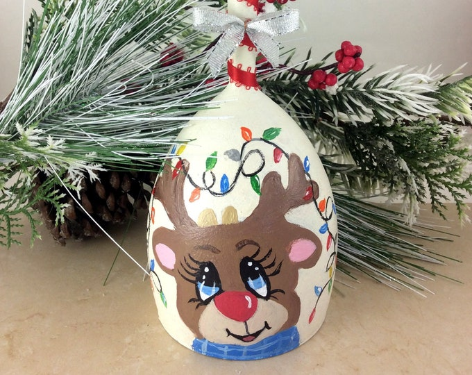 "Reindeer Candle holder, Christmas Candle holder, Christmas decor, 8"" high"