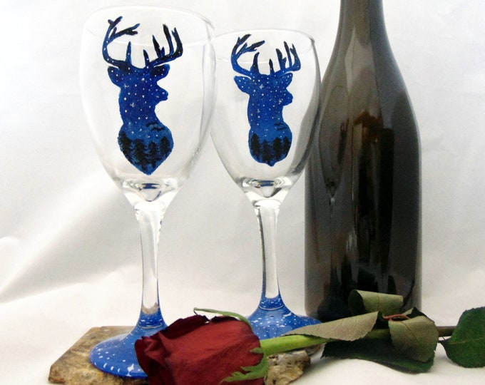 Hand painted  Deer Silhouette wine glasses - 10.25oz. wine glasses