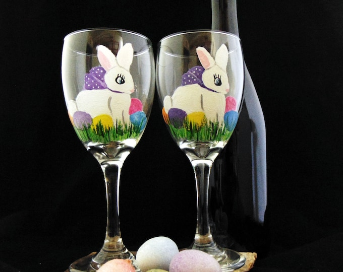 Easter Wine glasses, Hand painted Easter wine glasses, 10.25oz.