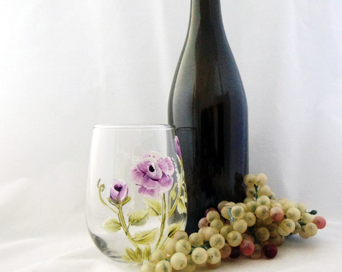 Flower Stemless wine glass,  Hand painted summer glassware, 17oz.