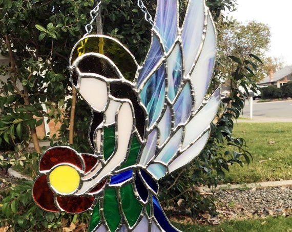 Angel Suncatcher, Stained Glass Angel Sun Catcher, Stained Glass, Glass Angel, Tiffany Style, Prism SunCatcher, Thinking of you gift