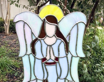 Stained Glass Angel SunCatcher, Gift Stained Glass Angel stain glass,stain glass,suncatcher window,prism suncatcher,Guardian Angel Faith