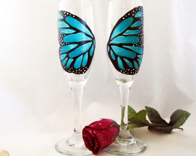 Champagne Butterfly wing glasses, Set of Toasting Flutes, Hand painted Champagne glasses, 6oz.